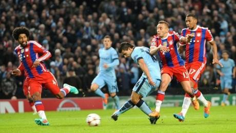 Sergio Aguero scores against Bayern Munich