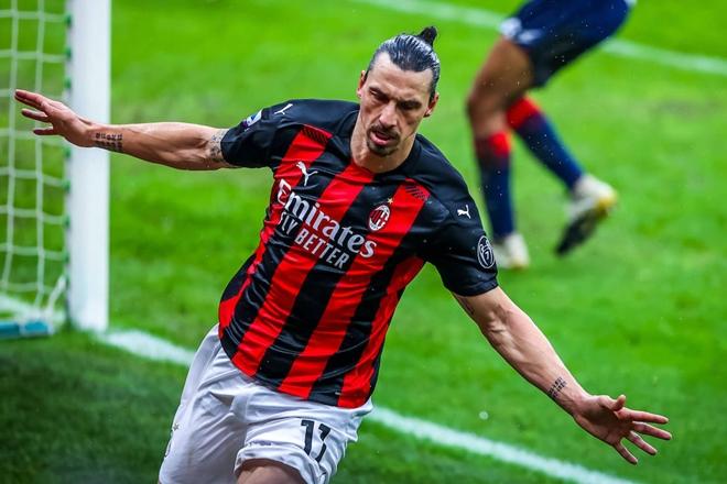 Zlatan celebrates another Serie A goal